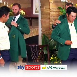 Hideki Matsuyama reacts to winning Masters and is presented with green jacket by Dustin Johnson